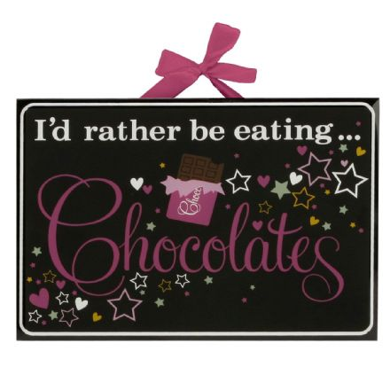 I'd Rather Be Eating Chocolates Glass Plaque